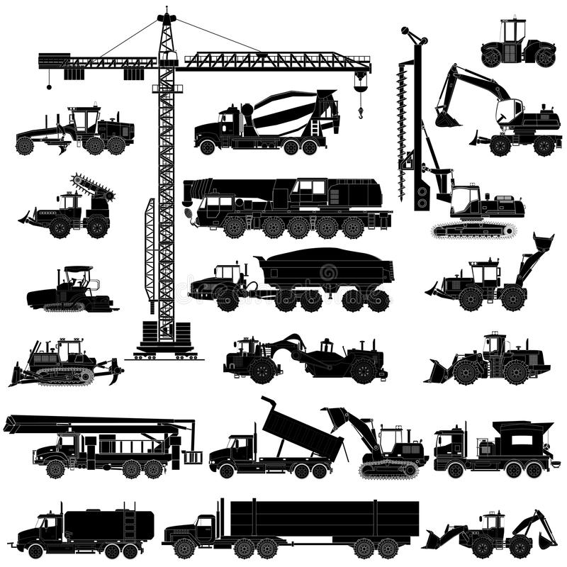 Set of heavy construction machines silhouettes, icons, isolated stock illustration
