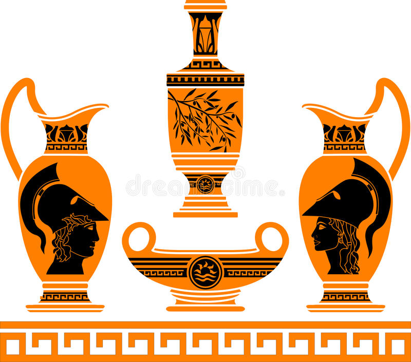 Download Set of hellenic vases stock vector. Image of hoplite - 20933701