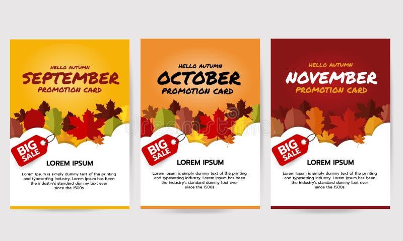 Set of hello autumn banner with leaves, september, october, november promotion card. Big sale banner template. Flat vector illustr royalty free illustration
