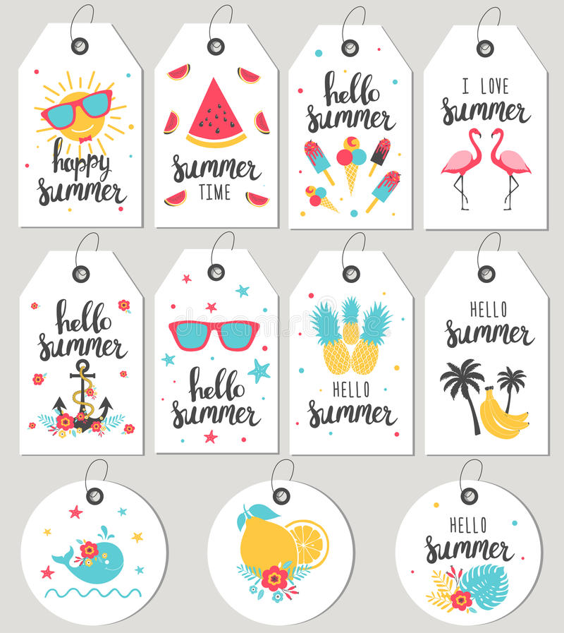 Set hello summer. Gift tags and cards. royalty free illustration
