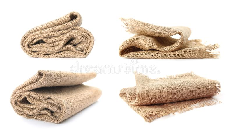 Set with hemp cloth. On white background royalty free stock photos