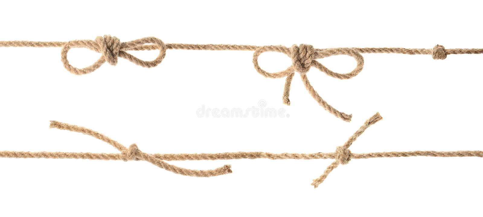 Set with hemp rope, knots and bows royalty free stock photography