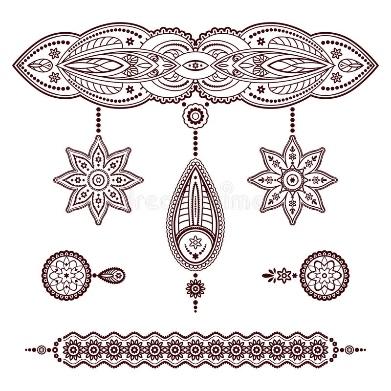 Set of henna tattoo ornaments on white vector illustration