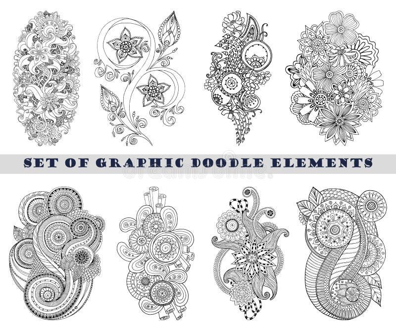 Set henny Paisley Mehndi Doodle element royalty ilustracja