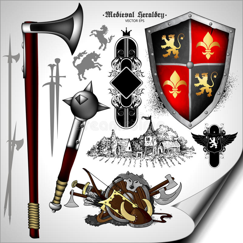 Set of heraldic elements. Set of medieval heraldic elements with shields and weapons royalty free illustration