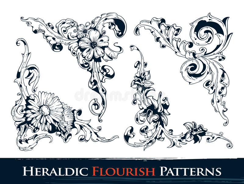 Set of heraldic flourish patterns stock illustration