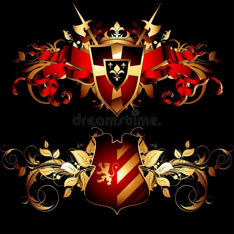 Set of heraldic shields stock illustration