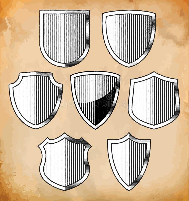 Set of heraldic shields vector illustration