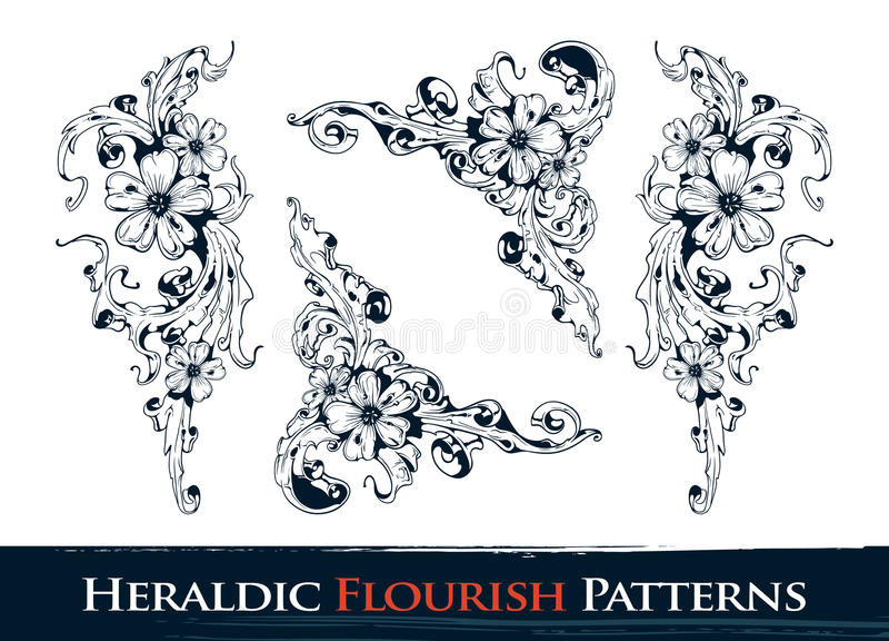 Set heraldische Flourishmuster lizenzfreie abbildung