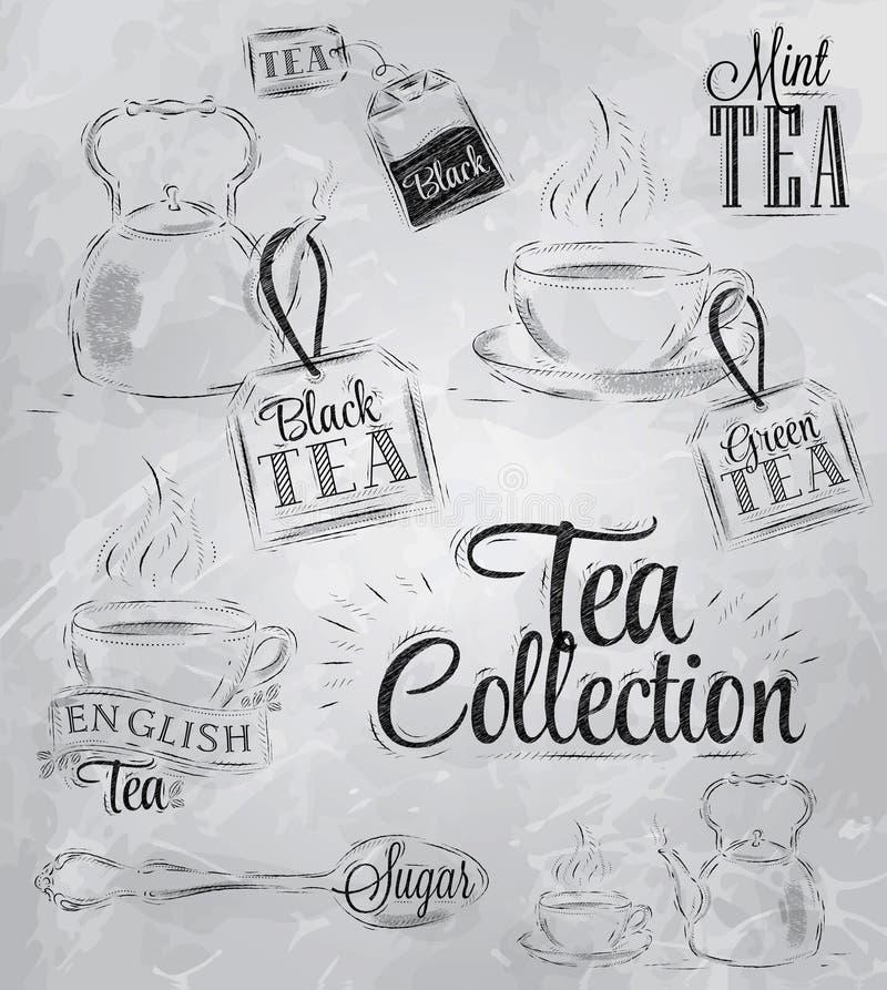 Set herbaciana kolekcja. Węgiel. ilustracji
