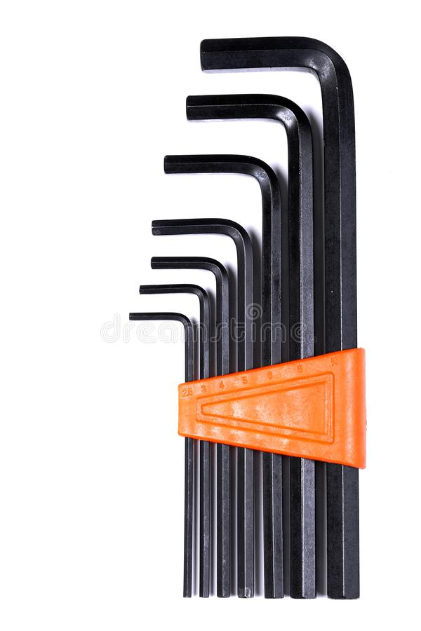 Set of hex keys Allen keys royalty free stock image