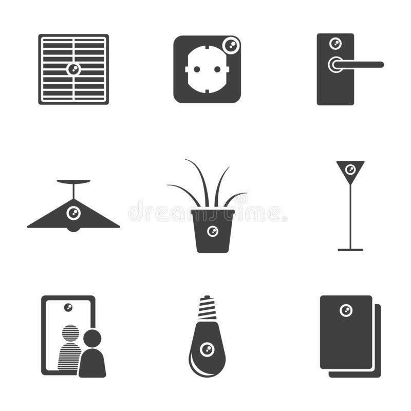 Set of hidden camera icons in various places of office and home interior. Vector on white background royalty free illustration