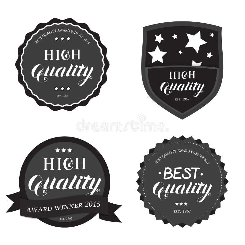 Set of High Best Quality Round Emblem stock illustration