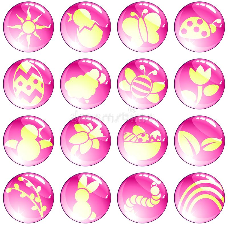 Set of high-gloss pink spring icons stock illustration
