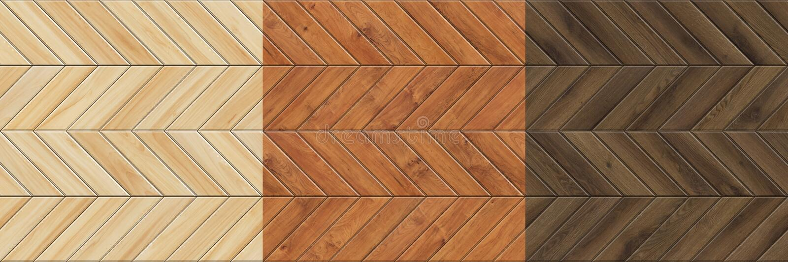 Set of high resolution seamless textures of wooden parquet. Chevron patterns. Of wood floors stock photo