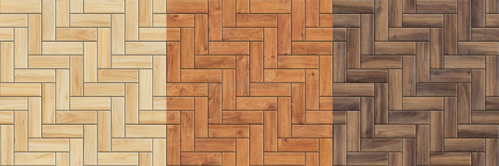 Set of high resolution seamless textures of wooden parquet. Herringbone patterns royalty free stock photo