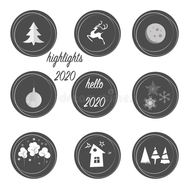 Set of highlights stories covers icons in grey and white colors. Perfect for bloggers. Fully editable, scalable vector file. New y. Ear and Christmas original vector illustration