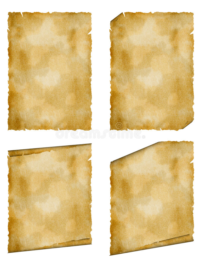 Set highly detailed old paper. Highly detailed old paper.Texture paper page grown old from long storage stock illustration