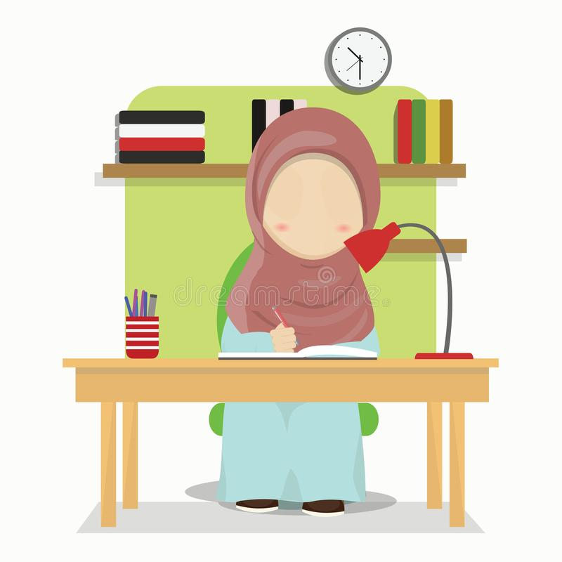 Set of Hijab girl cartoon character doing home work, vector illustration stock illustration