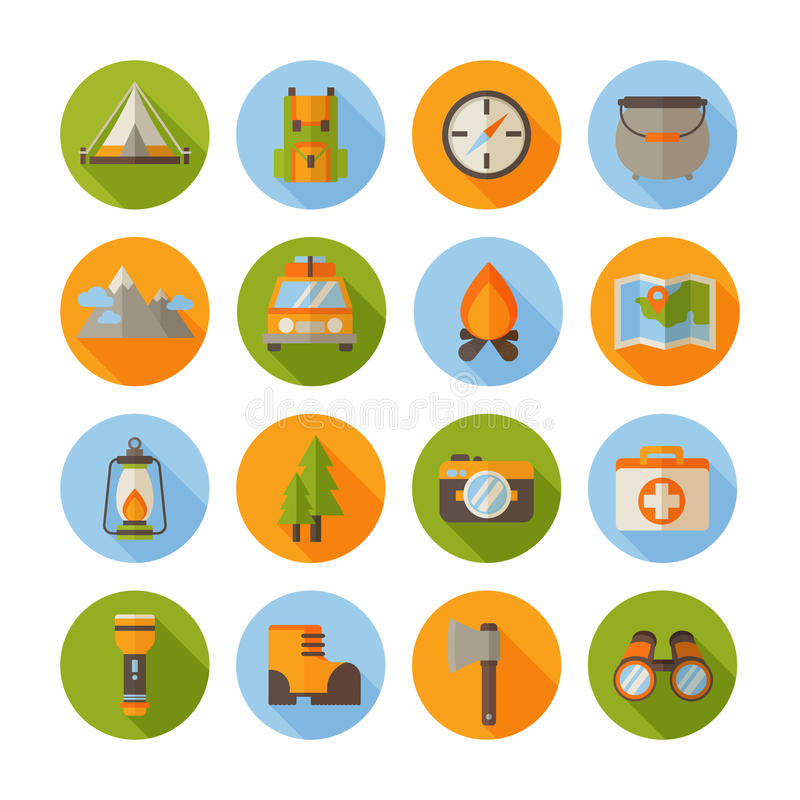 A set of hiking flat icons in modern style royalty free illustration