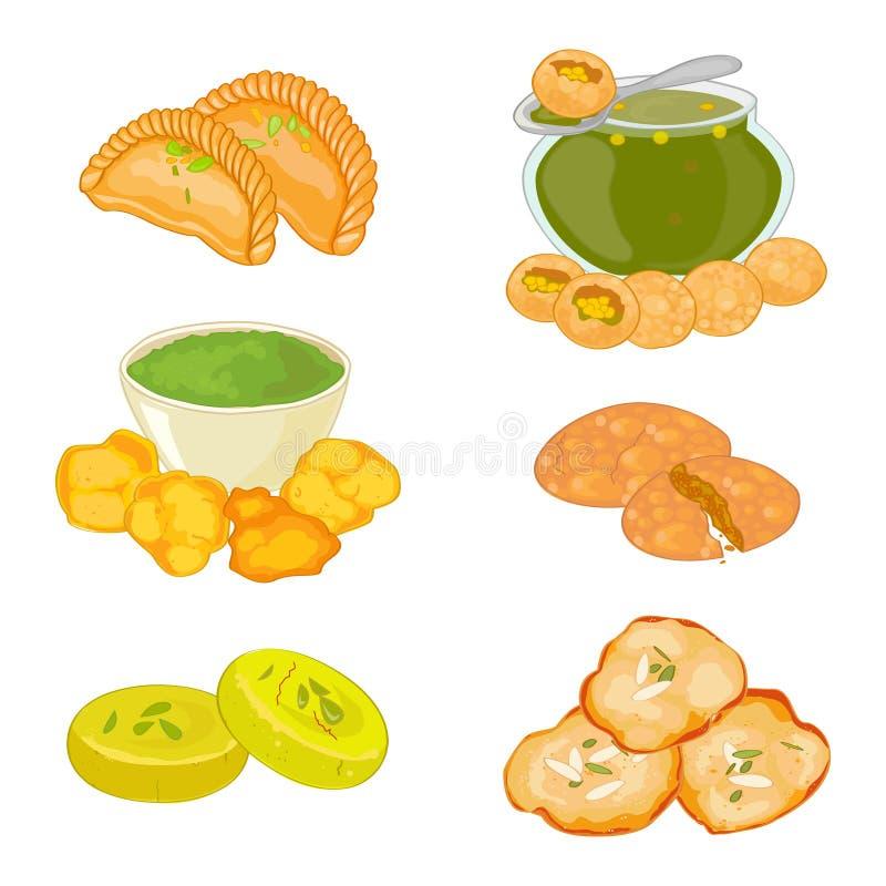 Set 6 hindus kuchni naczyń royalty ilustracja