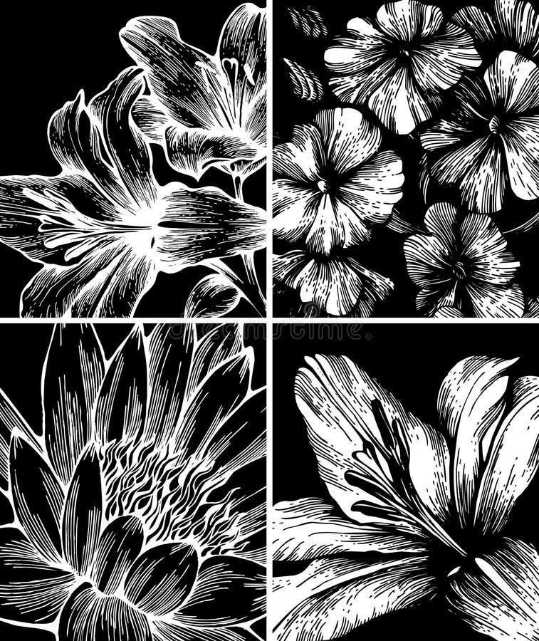Set Hintergründe mit Blumen, Handzeichnung. vektor abbildung