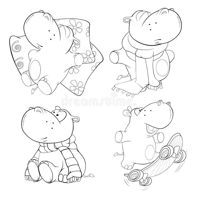 Set hipopotamy książkowa kolorowa kolorystyki grafiki ilustracja ilustracja wektor