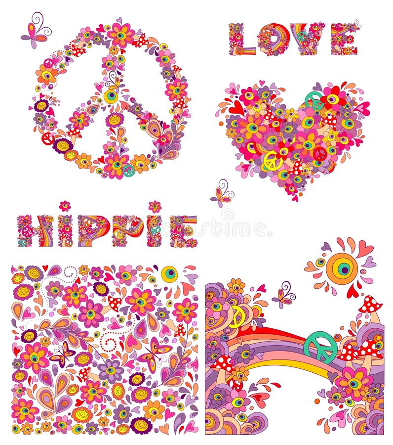 Set for hippie wallpaper with funny butterflies, colorful flowers and mushrooms, peace flowers symbol, heart shape vector illustration