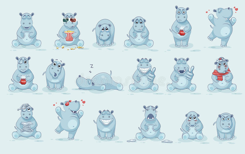 Set of Hippo royalty free illustration