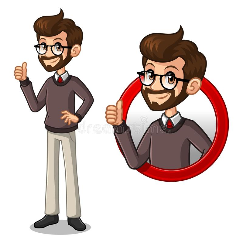 Set of hipster businessman inside the circle logo concept. Set of hipster businessman cartoon character design, inside the circle logo concept with showing like royalty free illustration