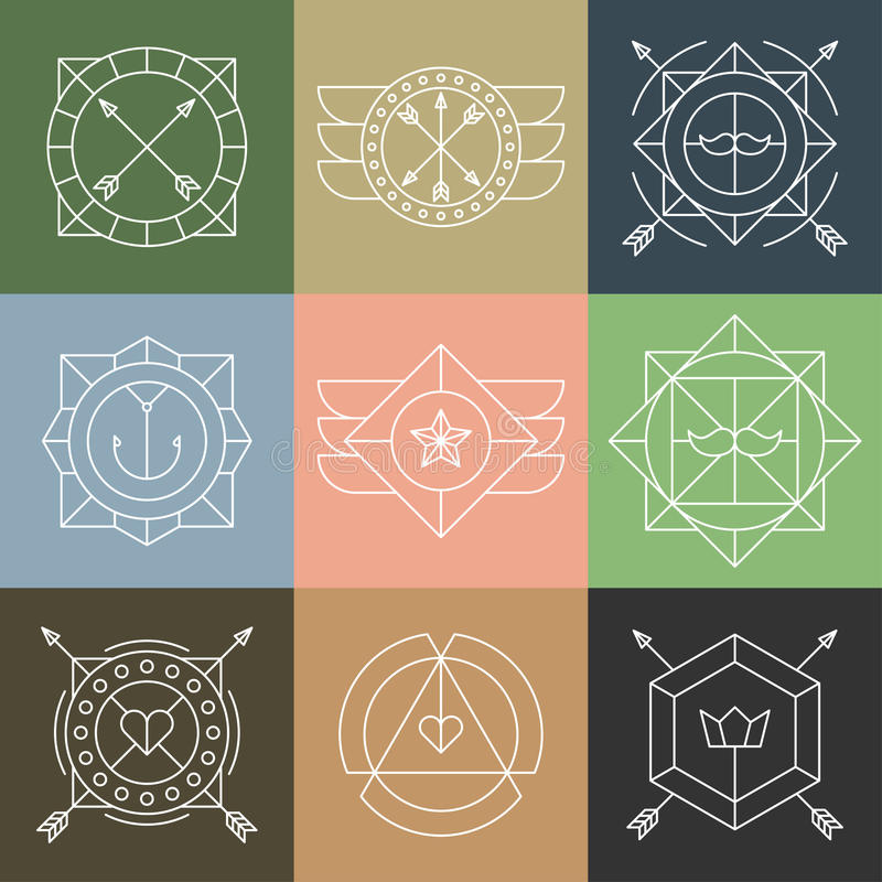 Set of Hipster Emblems and Badges vector illustration