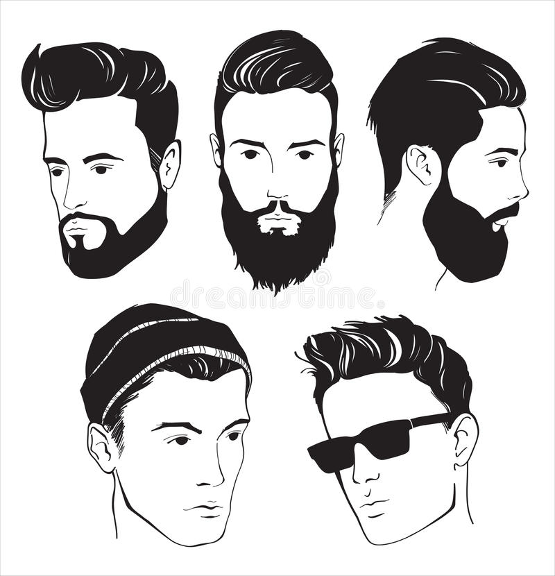 Set Of Hipster Fashion Man With Beard Mustache And Sunglasses Stock Vector Illustration Of
