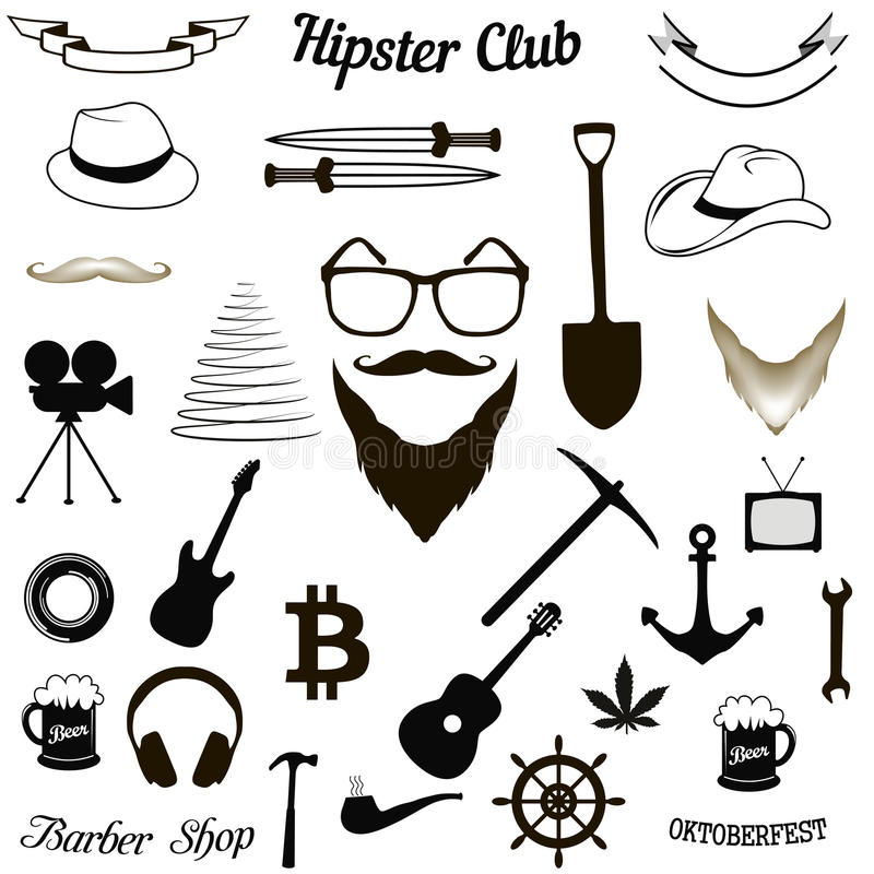 Set hipster icons vector illustration