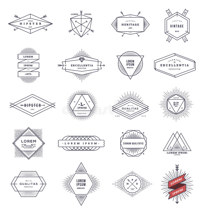 Set of hipster line emblems and signs stock illustration