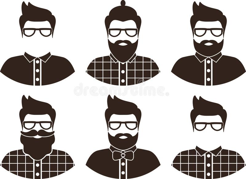 Set of hipster man silhouette, flat icon - a man with glasses, mustache and beard, wearing an in a plaid shirt and bow tie. royalty free illustration