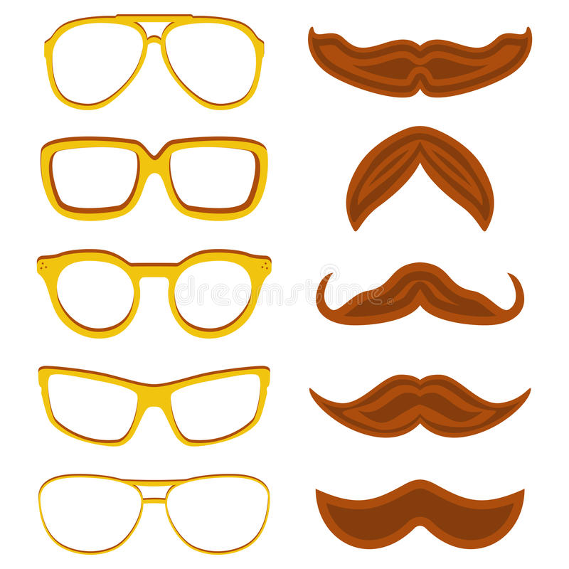 Set of hipster nerd glasses and stylish mustaches isolated on white royalty free illustration