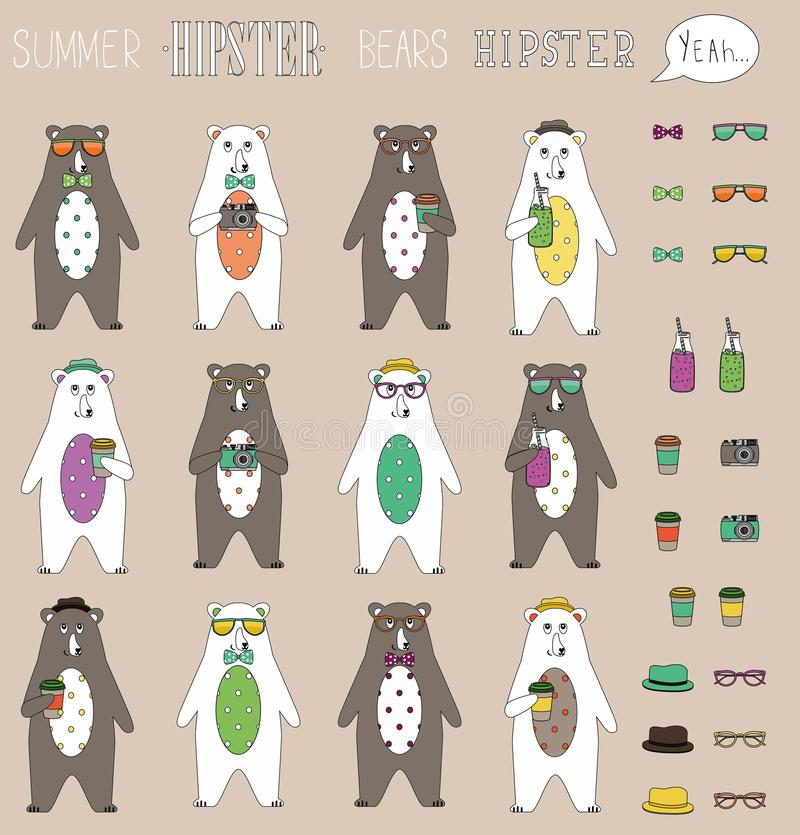 Set of hipster summer bear flat with accessories can swap. Vintage styled design hipster icons signs and symbols templates for vector illustration