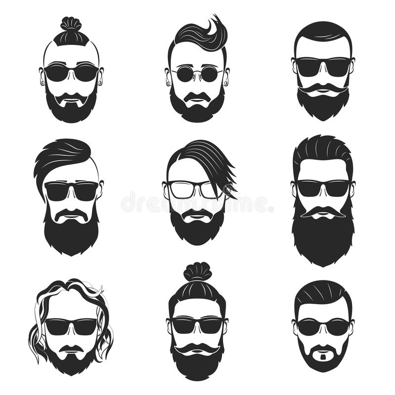 Set of 9 hipsters bearded men with different hairstyles, mustach. Es, beards isolated on white background. Vector illustration stock illustration