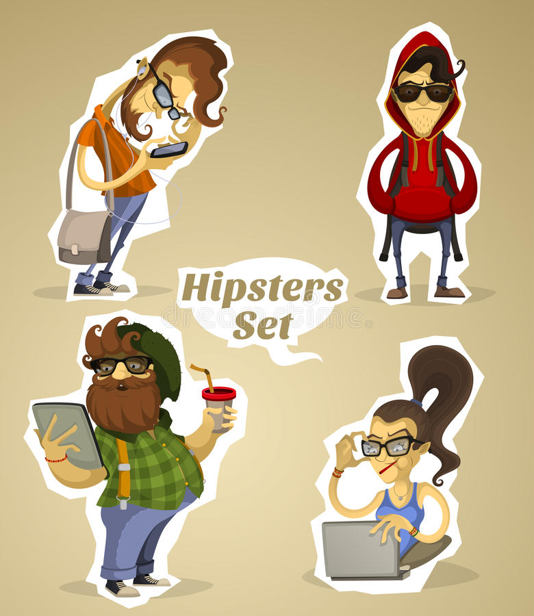 Set hipsters nerds with gadgets and without stock illustration
