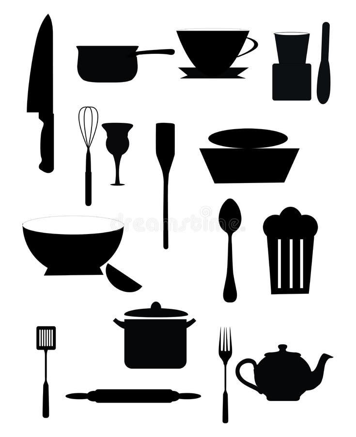 set hjälpmedel för matlagningkök vektor illustrationer