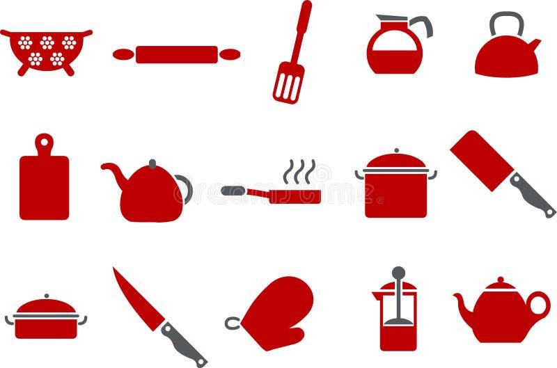 set hjälpmedel för matlagningsymbol vektor illustrationer