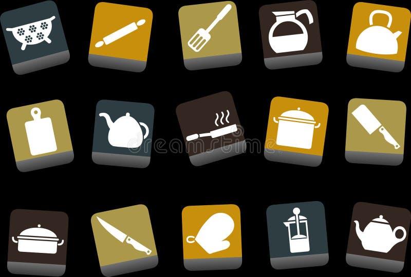 set hjälpmedel för matlagningsymbol stock illustrationer