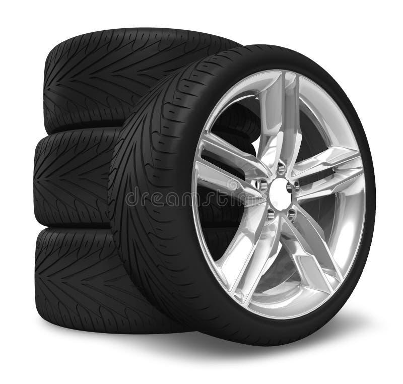 set hjul för bil royaltyfri illustrationer