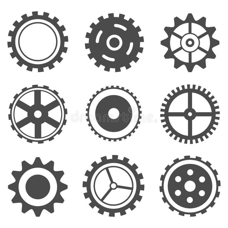 set hjul för kugge vektor illustrationer