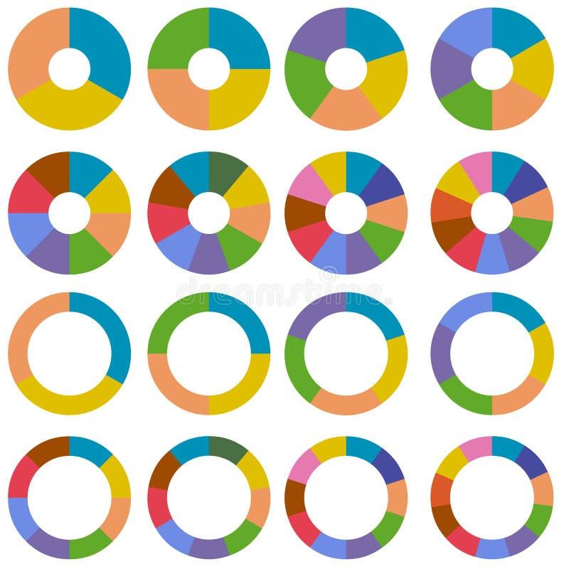 set hjul för nav stock illustrationer