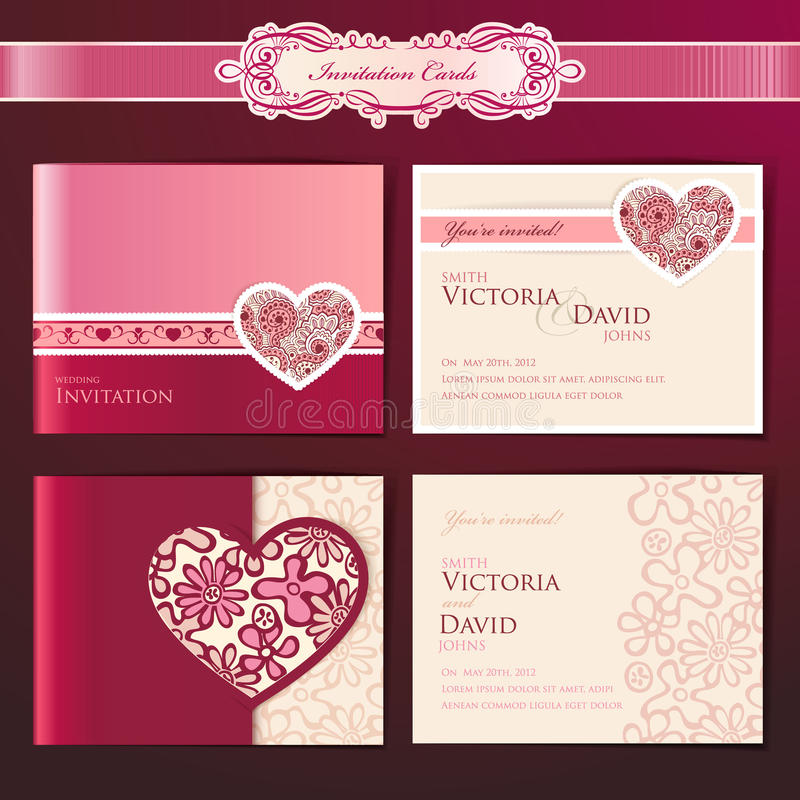 Set Hochzeitseinladungskarten lizenzfreie abbildung