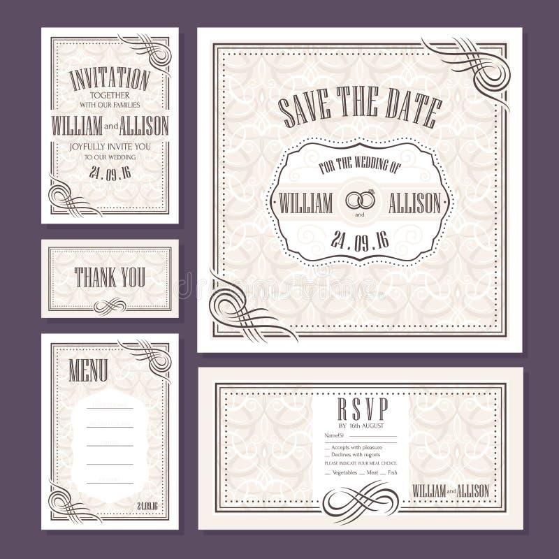 Set Hochzeitskarten lizenzfreie abbildung