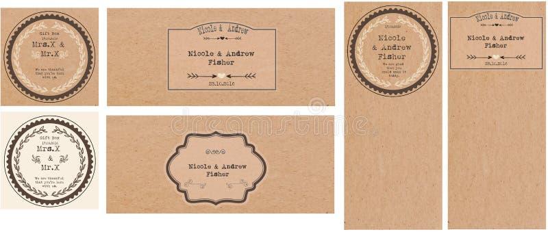 Set Hochzeitskarten stockbilder