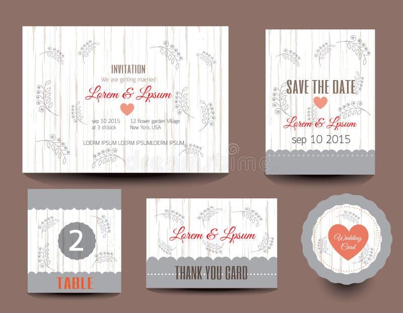 Set Hochzeitskarten Hochzeitseinladungen, danke zu kardieren stock abbildung