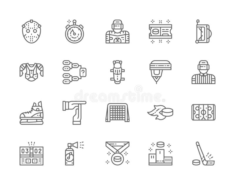 Set of Hockey Line Icons. Puck, Stopwatch, Goalkeeper, Ticket, Referee and more. Set of Hockey Line Icons. Puck, Stopwatch, Goalkeeper, Ticket, Sports Bag stock illustration